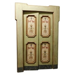 Antique Double Door Painted on a Green Background, Original Frame, 1700 Italy