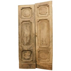 Antique Double Doors in Light Fir Wood, Sculpted Style Louis XVI, 1700, Italy