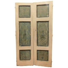 Antique Double Doors in White and Blue Lacquered Wood, 1700, Italy