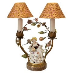 Antique Double French Lamp with Porcelain Flowers and Metal and Silk Shades