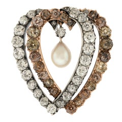 Antique Double Heart Diamond Set Brooch, circa 1890s