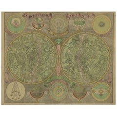 Antique Double Hemisphere Celestial Chart by Lotter, 'circa 1770'