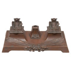 Antique Double Inkwell with Owls, circa 1920
