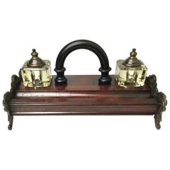 Antique Double Inkwell Wood and Irion Inkstand Desk Companion with Handle