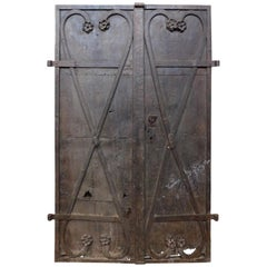 Antique Double Iron Door for Tower, Carved Flowers, Late 18th Century, Austria