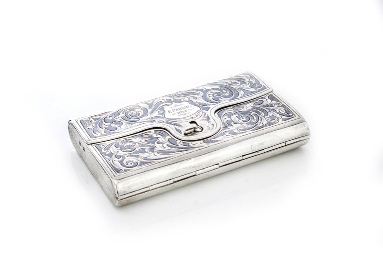 Antique Russian silver double sided cigarette case with niello decoration
