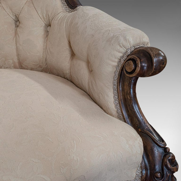 Antique Double Spoonback Sofa, English, Walnut, Camel Back, Victorian, 1850 For Sale 6