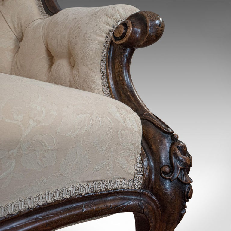 Antique Double Spoonback Sofa, English, Walnut, Camel Back, Victorian, 1850 For Sale 7