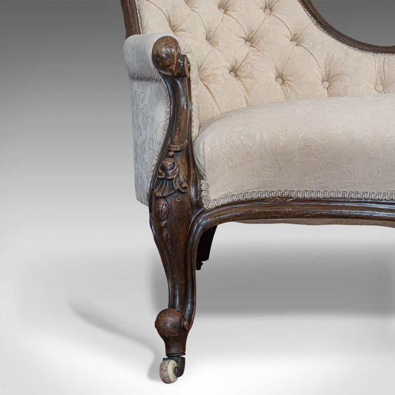 Antique Double Spoonback Sofa, English, Walnut, Camel Back, Victorian, 1850 For Sale 8