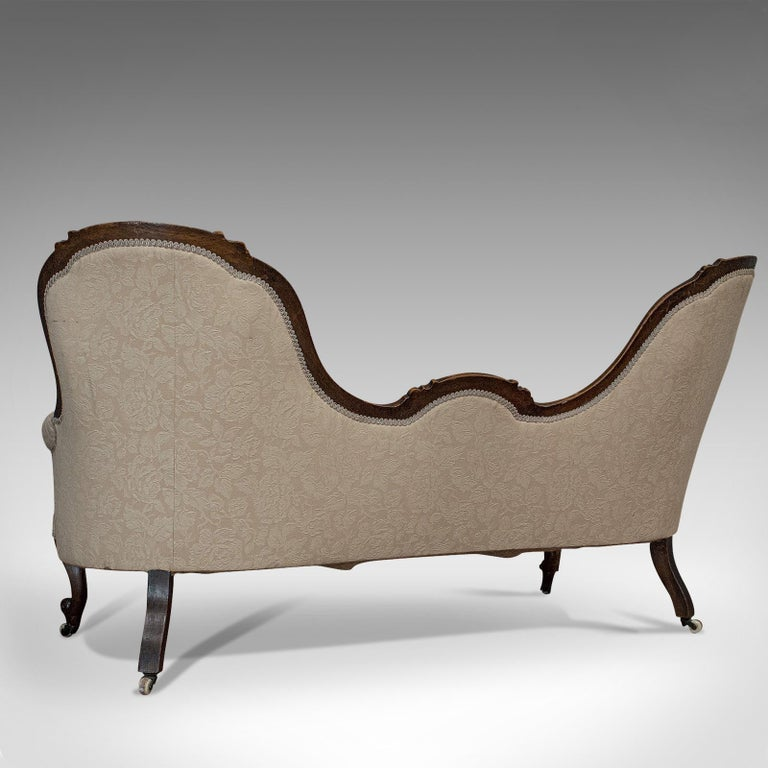 19th Century Antique Double Spoonback Sofa, English, Walnut, Camel Back, Victorian, 1850 For Sale