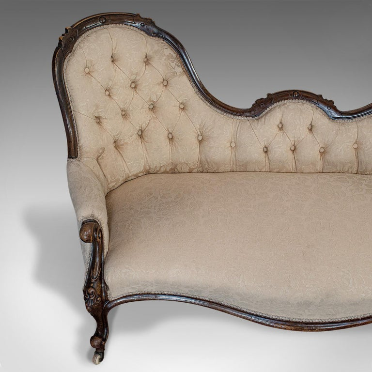 Antique Double Spoonback Sofa, English, Walnut, Camel Back, Victorian, 1850 For Sale 2