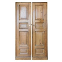 Antique Double Walnut Doors with Panels Carved, 1 Pairs, 18th Century Italy