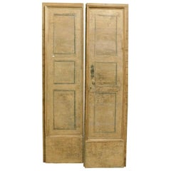 Antique Double Wing Door Set of 4, Beige Hand-Lacquered, 1600 Italian Convent