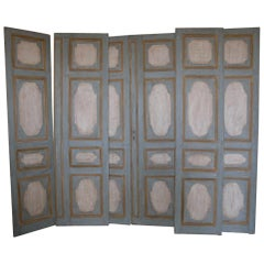 Antique Double-Wing Doors, Painted the Same Both Sides, Blue Yellow, '700, Italy