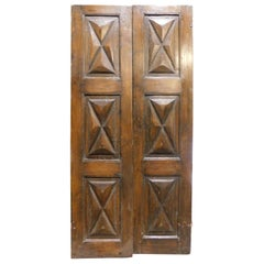 Antique Double Wings Poplar Door, Carved Diamond Point, 17th Century, Italy