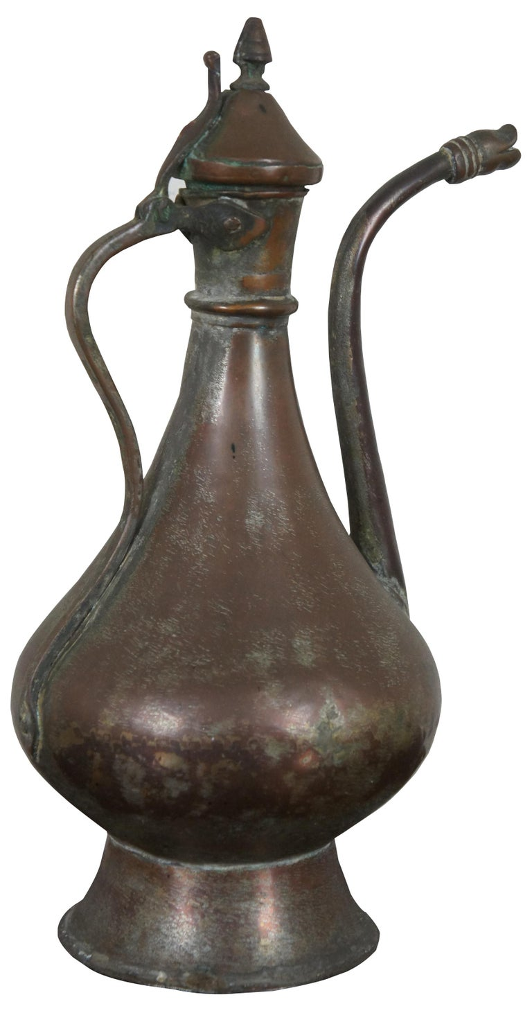 Islamic Antique Dovetailed Copper Turkish Goose Neck Pitcher Coffee Tea Pot Samovar For Sale