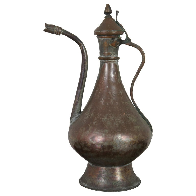 Antique Dovetailed Copper Turkish Goose Neck Pitcher Coffee Tea Pot Samovar For Sale