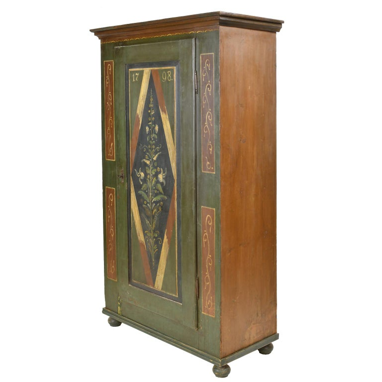 Folk Art Antique Dowry/Wedding Armoire with Green and Maroon Paint and Floral Design For Sale