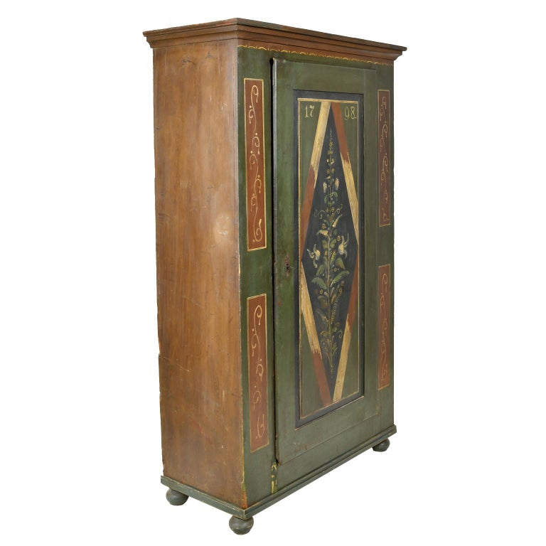 European Antique Dowry/Wedding Armoire with Green and Maroon Paint and Floral Design For Sale