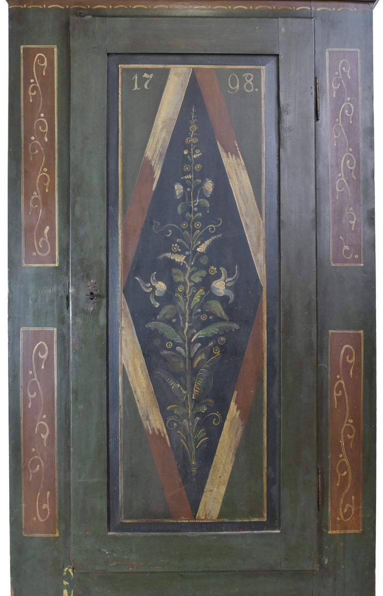 18th Century Antique Dowry/Wedding Armoire with Green and Maroon Paint and Floral Design For Sale