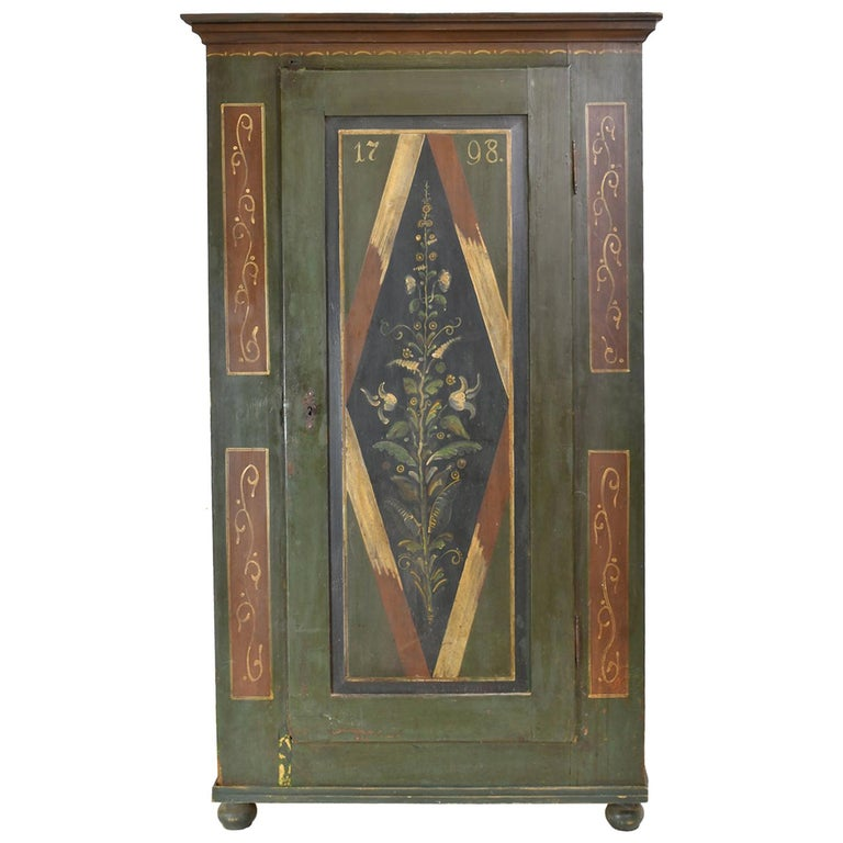 Antique Dowry/Wedding Armoire with Green and Maroon Paint and Floral Design For Sale