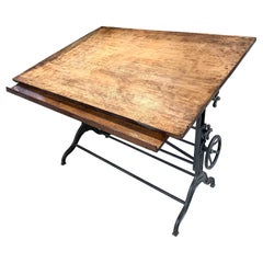 Antique Drafting Table Large
