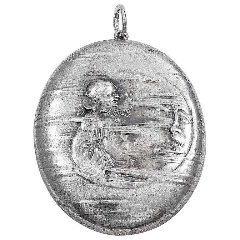 Antique Dreamy Sterling Man in the Moon Locket For Sale