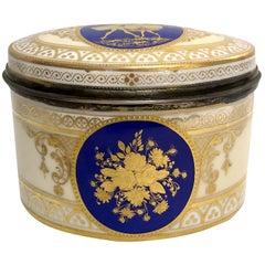Antique Dresden Porcelain Box with Silver Interior, circa 1891-1901