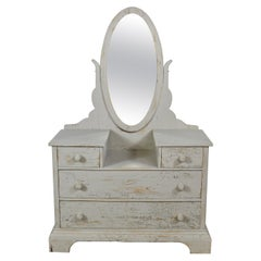 Antique Dressing Table/ Chest of Drawers with Gustavian Grey Paint & Oval Mirror