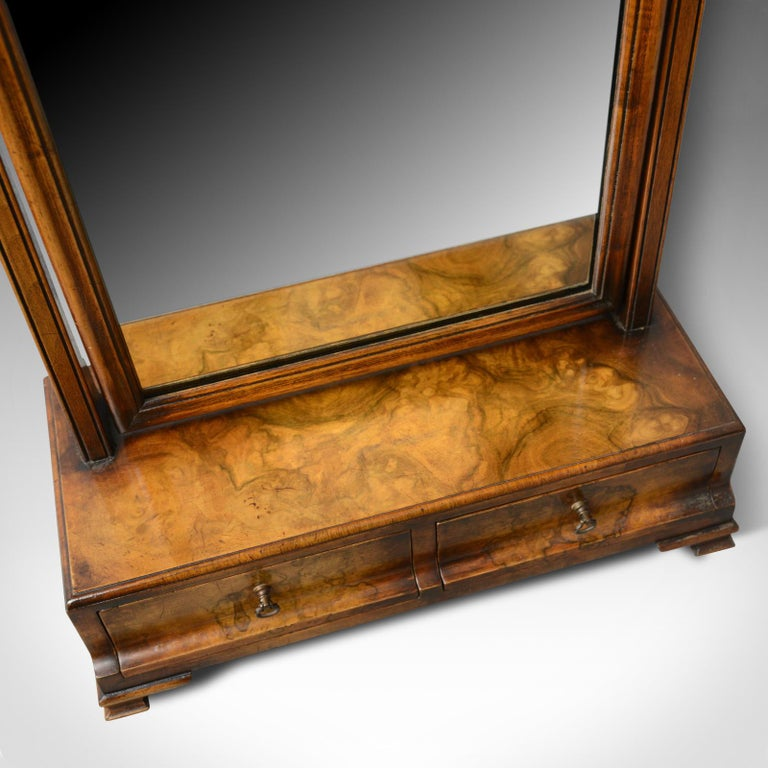 Antique Dressing Table Mirror, Burr Walnut Georgian Revival Vanity, Toilet In Good Condition For Sale In Taunton, GB