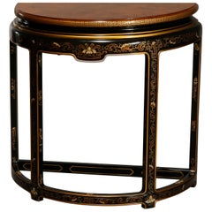 Antique Drexel Heritage Ebonized & Chinoiserie Decorated Demilune Console 20th C