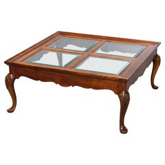 Antique Drexel Queen Anne Style Cherry & Glass Coffee Table, 20th Century