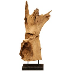 Antique Driftwood Sculpture on Green Marble Base