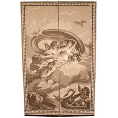 Antique Dufour Wood Block Wallpaper Screen, France, circa 1815