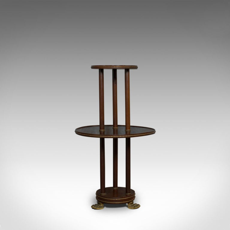 This is an antique dumb waiter. An English, Victorian, mahogany tiered table displaying Empire styling and dating to the late 19th century, circa 1880.  Rich mahogany in russet hues display a desirable aged patina Detailed gilt metal banding in