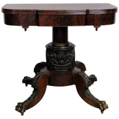 Antique 1820s Solid Mahogany Carved Paw Foot Duncan Phyfe Style Card Table