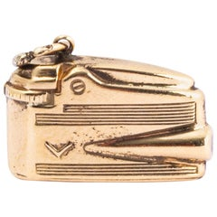 Antique Dunhill Style Lighter 9 Carat Gold Charm