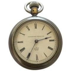 Antique Duplex Pocket Watch Signed Waterbury Watch Co.