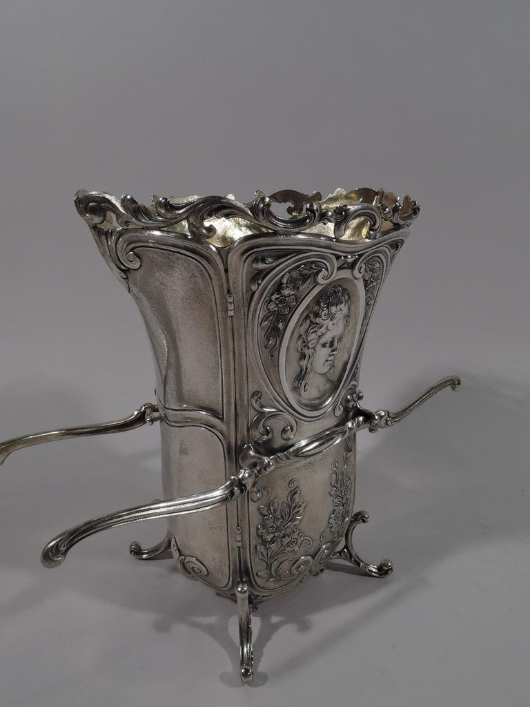North American Antique Durgin Rococo Revival Sterling Silver Sedan Chair Vase For Sale