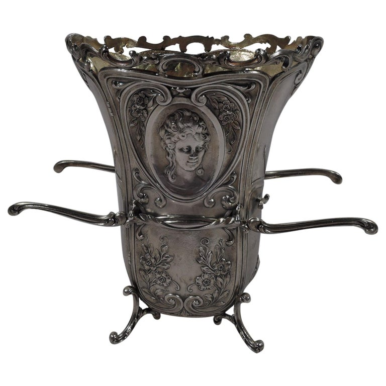Antique Durgin Rococo Revival Sterling Silver Sedan Chair Vase For Sale