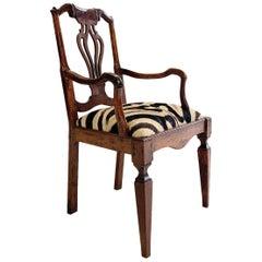 Antique Dutch Armchair in Zebra Hide