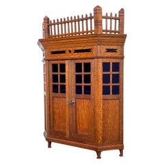 Antique Dutch Arts and Crafts Oak Miniature Wall Cabinet & Original Purple Glass