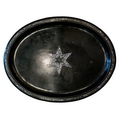 Antique Dutch Black Metal Tray with Mother of Pearl Star