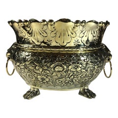 Antique Dutch Brass Repousse Jardinière with High Sides, circa 1860