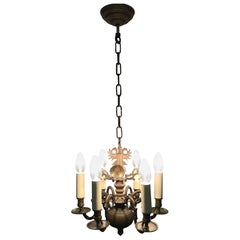 Antique Dutch Bronze Baroque Chandelier, Late 19th Century