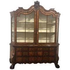 Antique Dutch Burl Walnut Marquetry Display Cabinet Bookcase, 18th Century