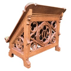 Antique Dutch Carved Oak Gothic Revival Bible Stand Religious Church Book Stand