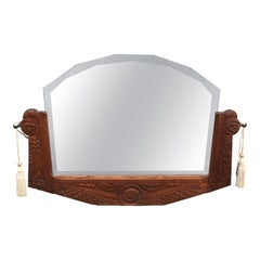 Antique Dutch Carved Oak Wood Wall Mirror