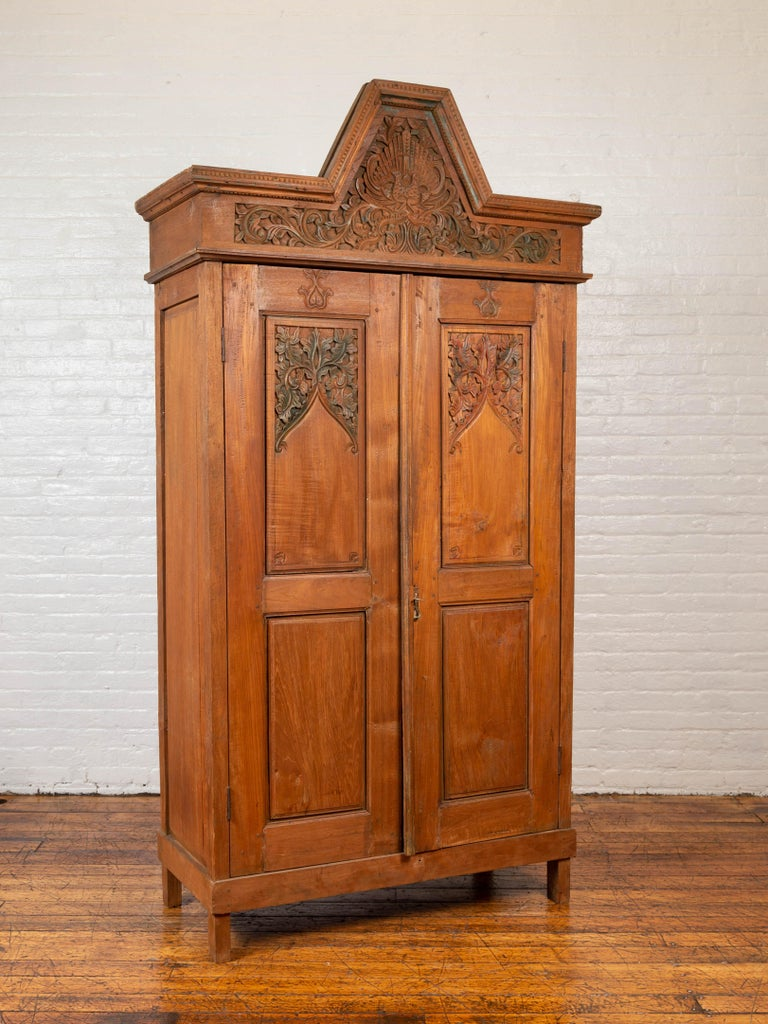 Indonesian Antique Dutch Colonial Armoire with Low-Relief Carved Painted Birds and Foliage For Sale