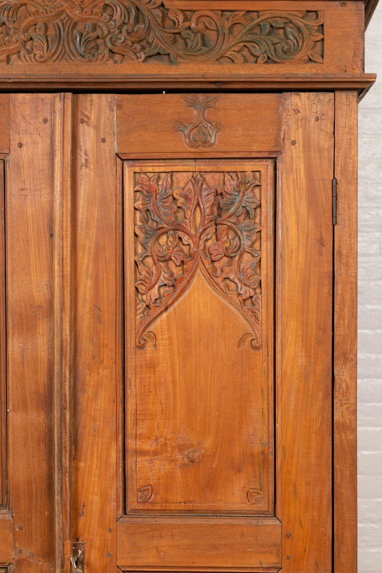 20th Century Antique Dutch Colonial Armoire with Low-Relief Carved Painted Birds and Foliage For Sale